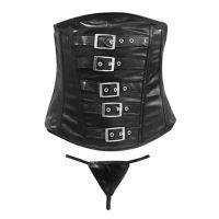 Corset Negro Eco Cuero Negro XL