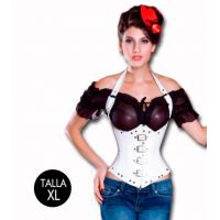 Corset Dominatrix con Tachas Blanco Talla XL