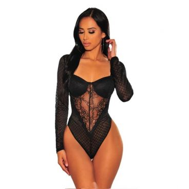 Body Con Encaje Negro - Victoria